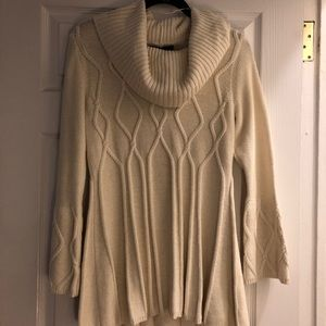 Cowl-Neck Sweater Tunic, cream colored, size S
